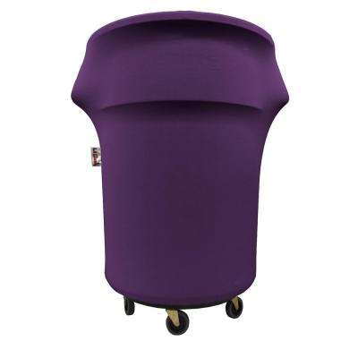 Spandex Cover Fitted for 55 Gal. Trash Can on Wheels in Purple