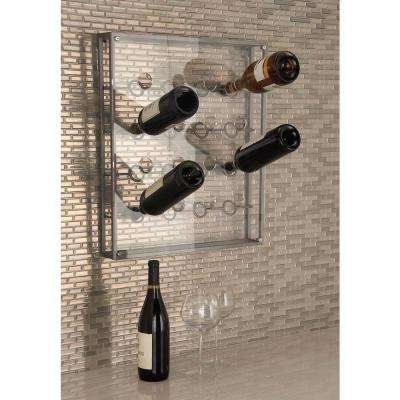 19 in. x 3 in. x 22 in. Metallic Gray Iron and Acrylic 16-Bottle Wine Holder