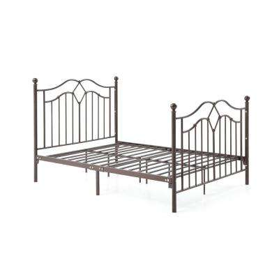 Complete Metal Bronze Full Bed with Headboard, Footboard, Slats and Rails