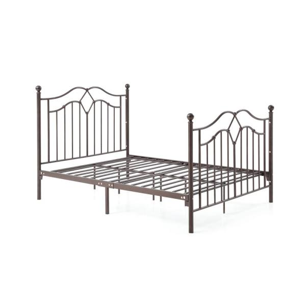 Hodedah Complete Metal Bronze Full Bed with Headboard, Footboard, Slats and