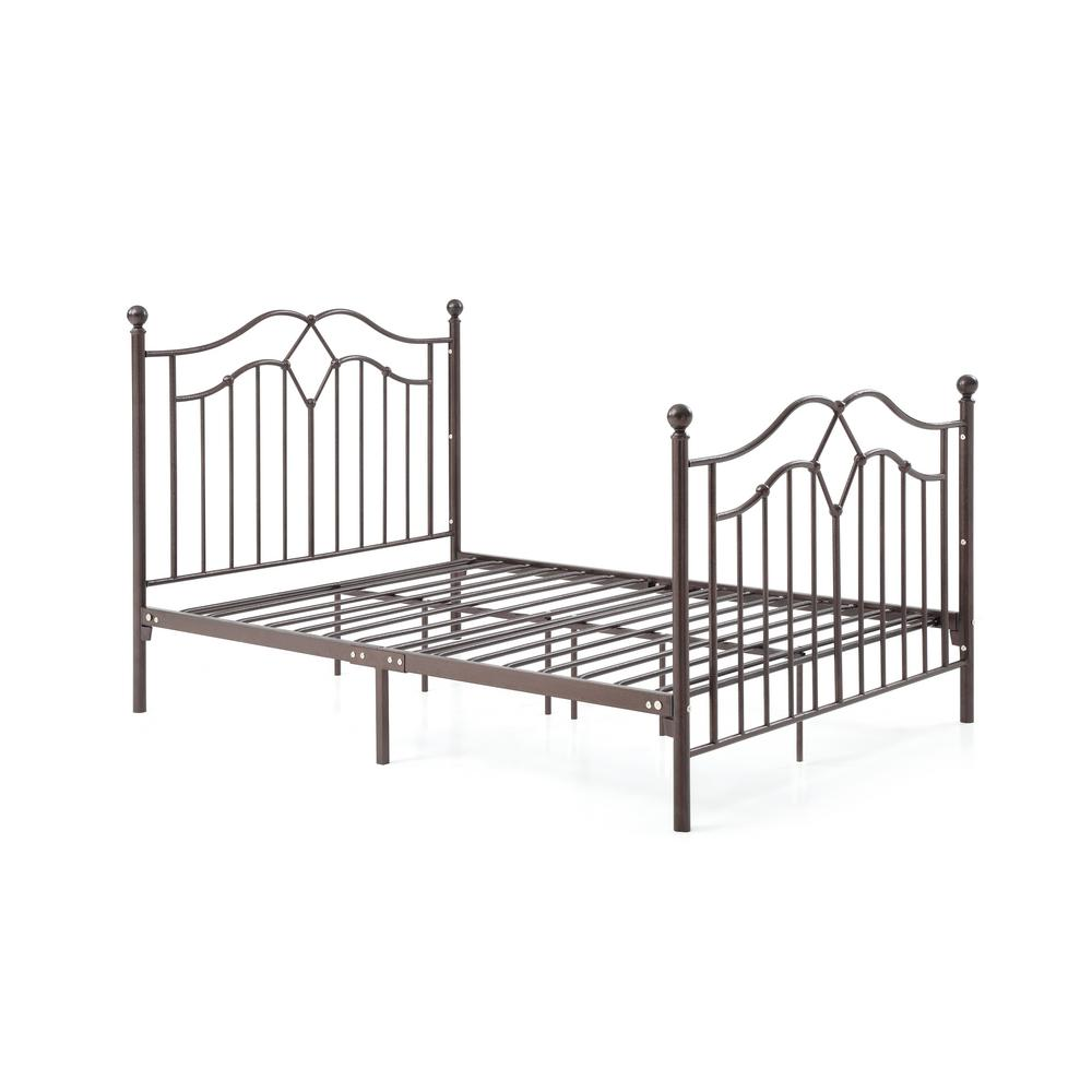 HODEDAH HODEDAH Complete Metal Bronze Full Bed with Headboard, Footboard, Slats and Rails