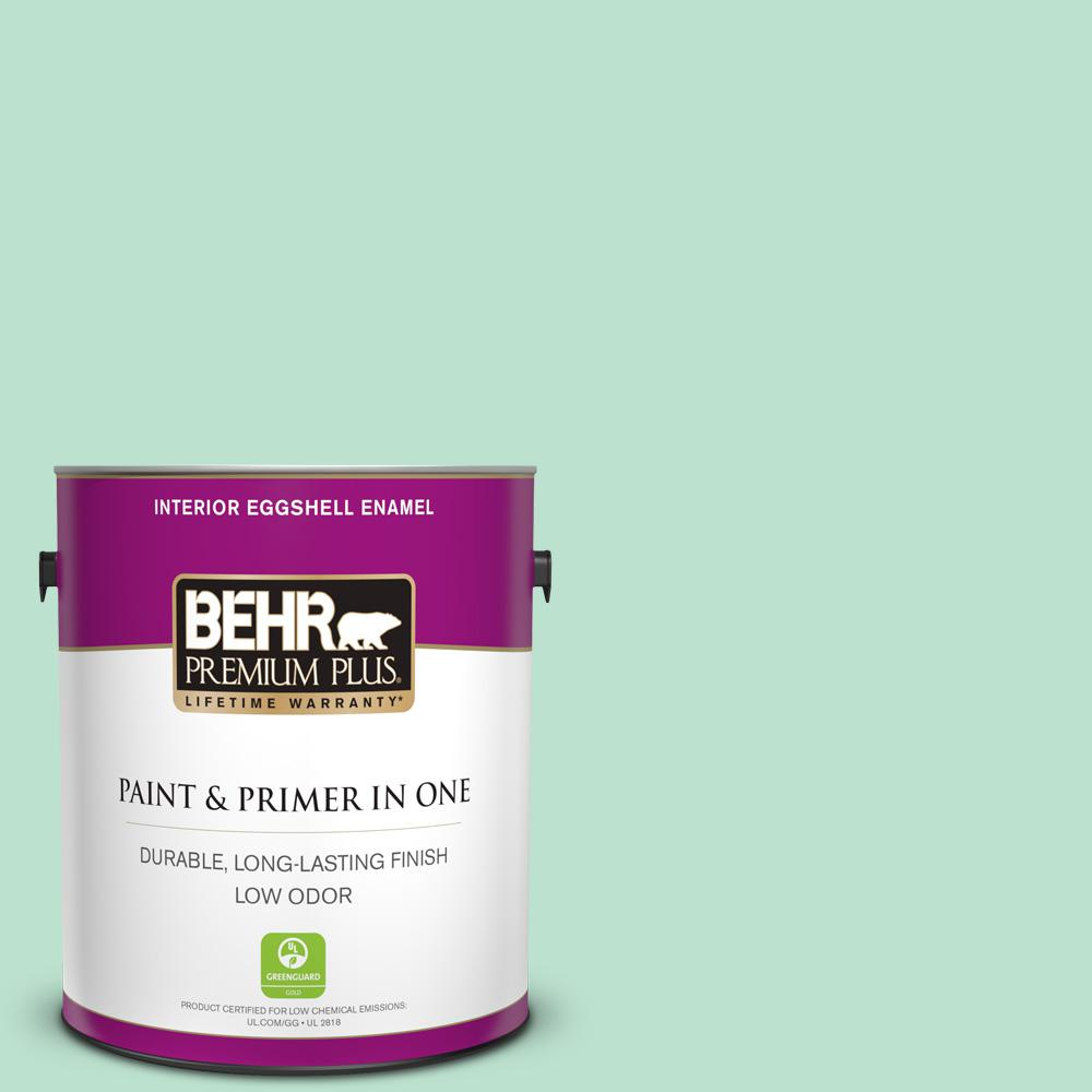 Behr Premium Plus 1 Gal P410 2 Spearmints Eggshell Enamel Low Odor Interior Paint And Primer In One 205001 The Home Depot