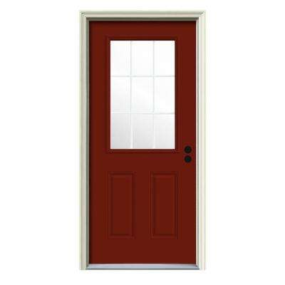 36 in. x 80 in. 9 Lite Mesa Red Painted w/White Interior Steel Prehung Left-Hand Inswing Front Door w/Brickmould