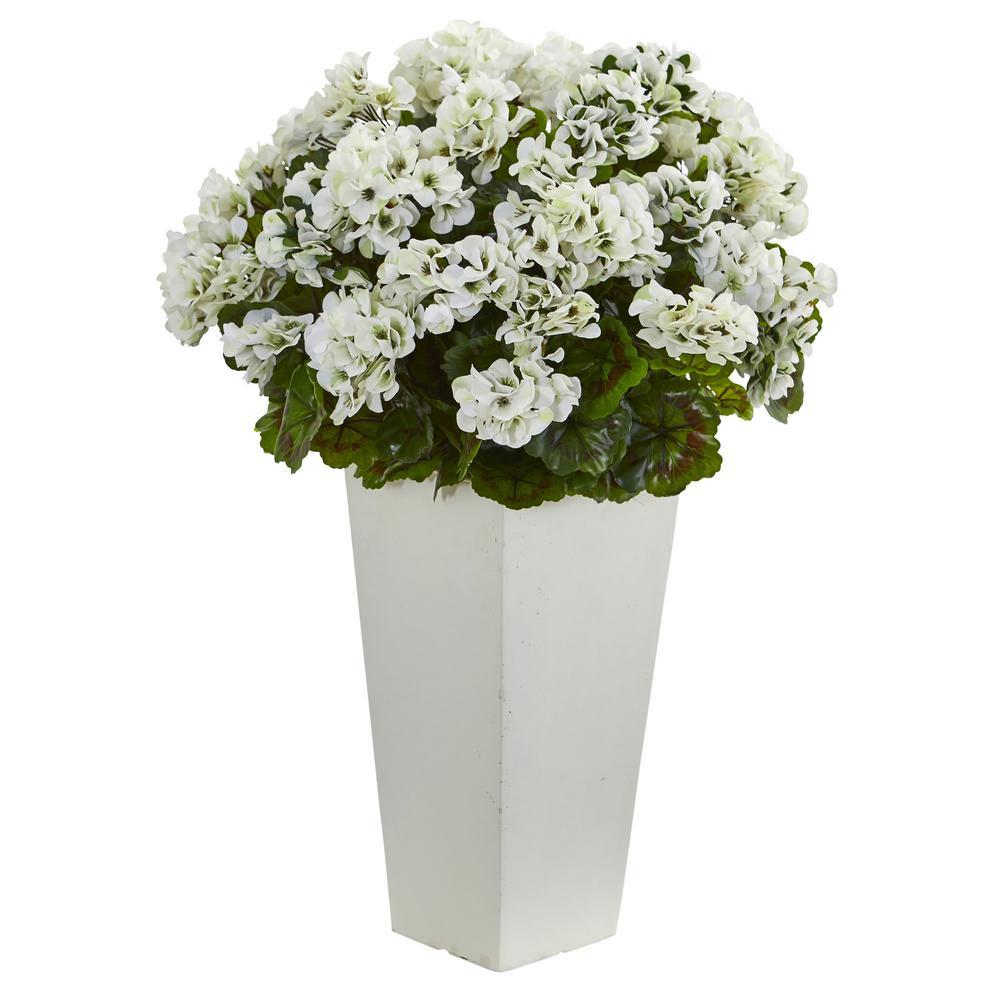 27 in. Geranium Artificial Plant in White Planter UV Resistant (Indoor/Outdoor)