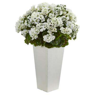 27 in. Geranium Artificial Plant in White Planter UV Resistant (Indoor/Outdoor)