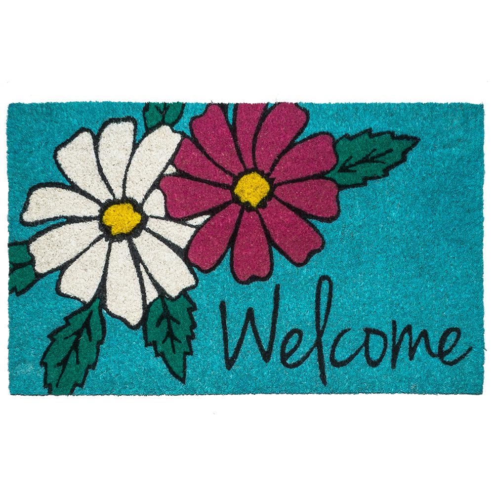 Floral Welcome 17 in. x 28 in. Non-Slip Coir Door Mat