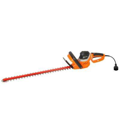 4.8 Amp Corded Hedge Trimmer with Rotating Handle and 24 in. Dual Cutting Laser Blade with Blade Cover