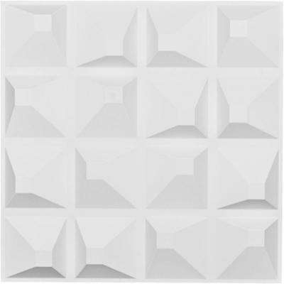 1 in. x 19-5/8 in. x 19-5/8 in. White PVC Tristan EnduraWall Decorative 3D Wall Panel