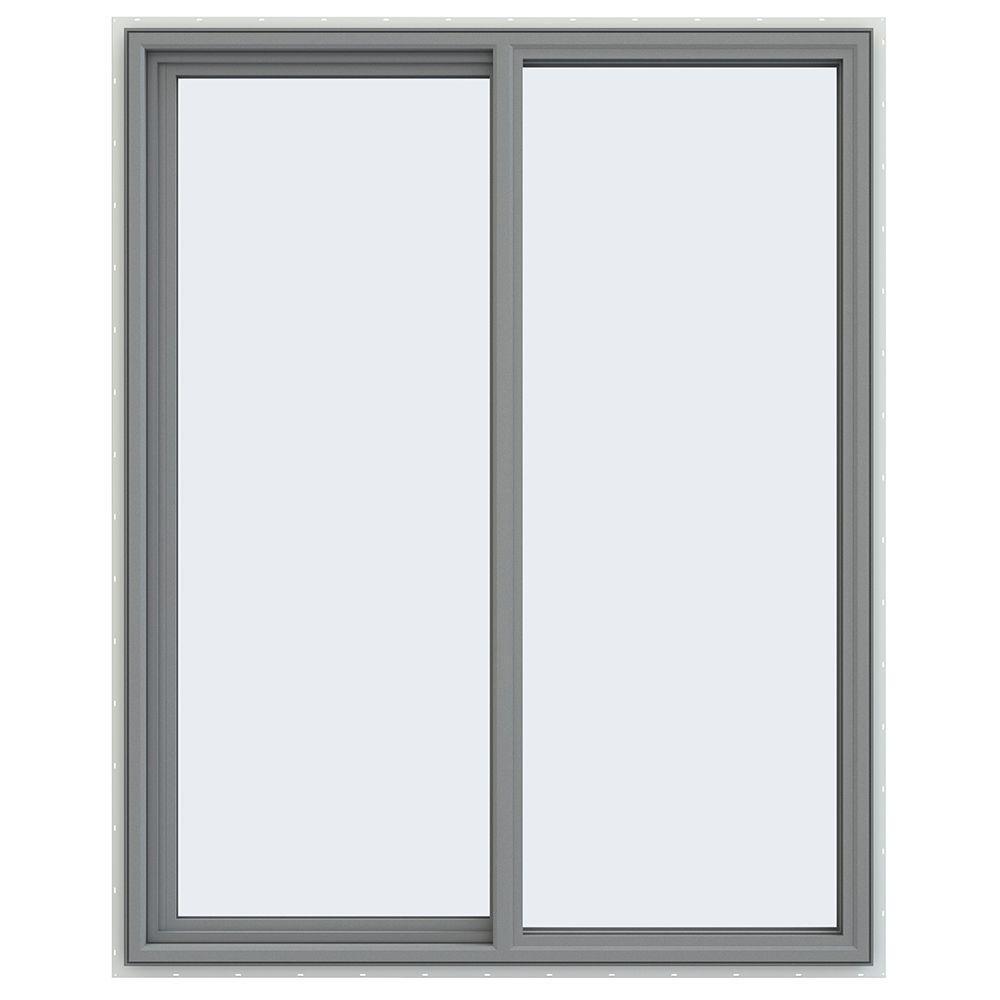 JELD-WEN 47.5 in. x 59.5 in. V-4500 Series Left-Hand Sliding Vinyl Windows - Gray