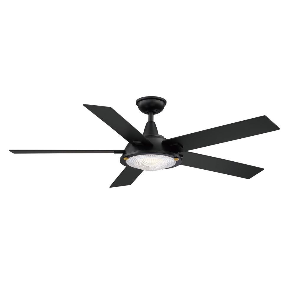 Merienda56 in. LED Matte Black Ceiling Fan with Light