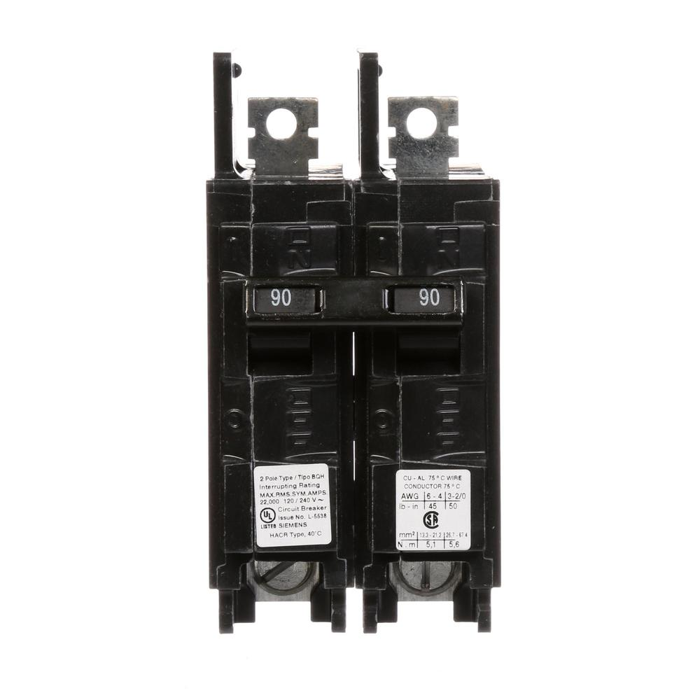90 Amp 2-Pole Type BQH 22 kA Lug-In/Lug-Out Circuit Breaker
