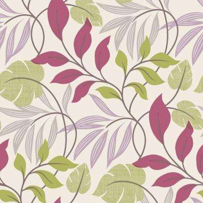 Eden Purple Modern Leaf Trail Wallpaper Sample