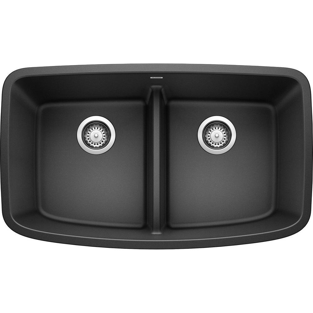 VALEA Undermount Granite Composite 32 in. 50/50 Double Bowl Kitchen Sink in Anthracite