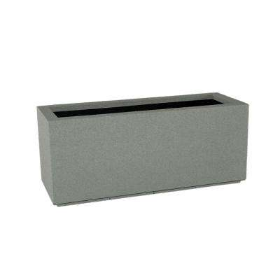 Milan Tall 46 in. x 19 in. Gray Trough Planter