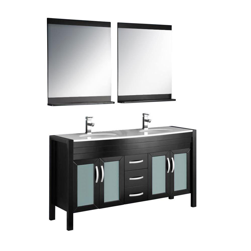 Fresca Infinito 60 in. Double Vanity in Espresso with Glass Stone Vanity Top in White and Mirror-DISCONTINUED