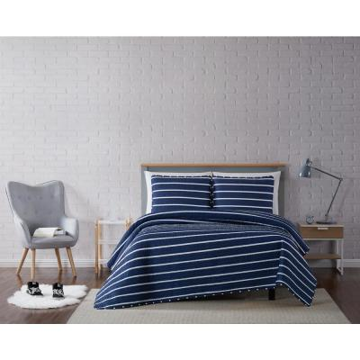 Maddow Stripe Navy Twin XL 2-Piece Quilt Set