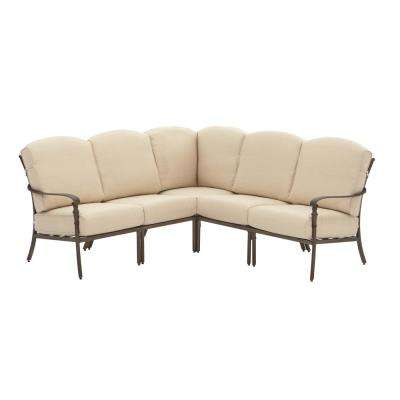 Cavasso 5-Piece Metal Outdoor Sectional with Oatmeal Cushions