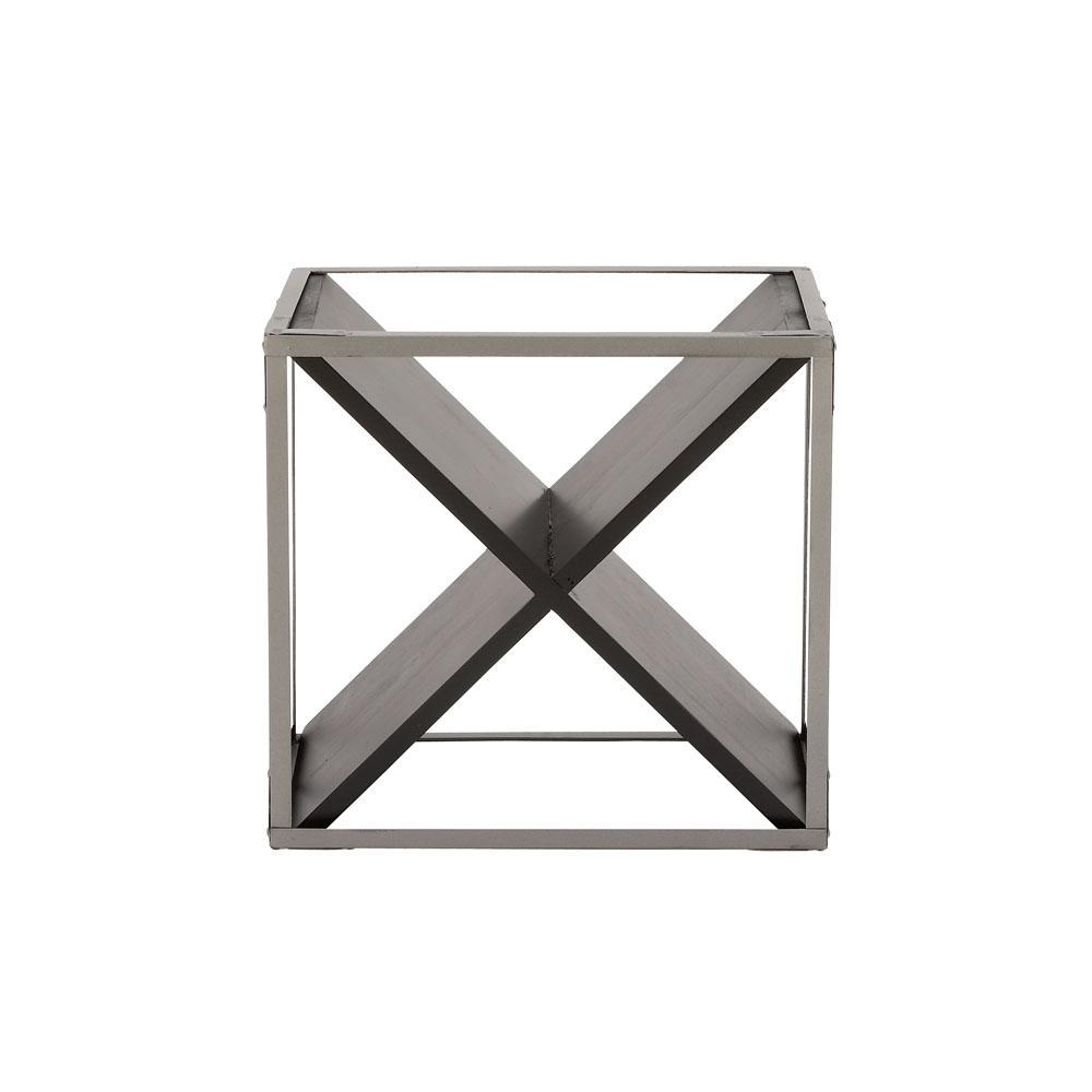 4-Bottle Light Gray and Black Square-Framed X-Shaped Wine Rack