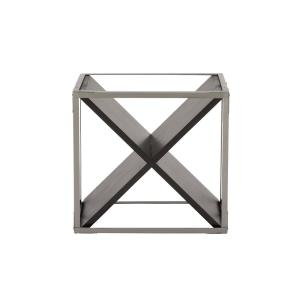 Click here to buy  4-Bottle Light Gray and Black Square-Framed X-Shaped Wine Rack.