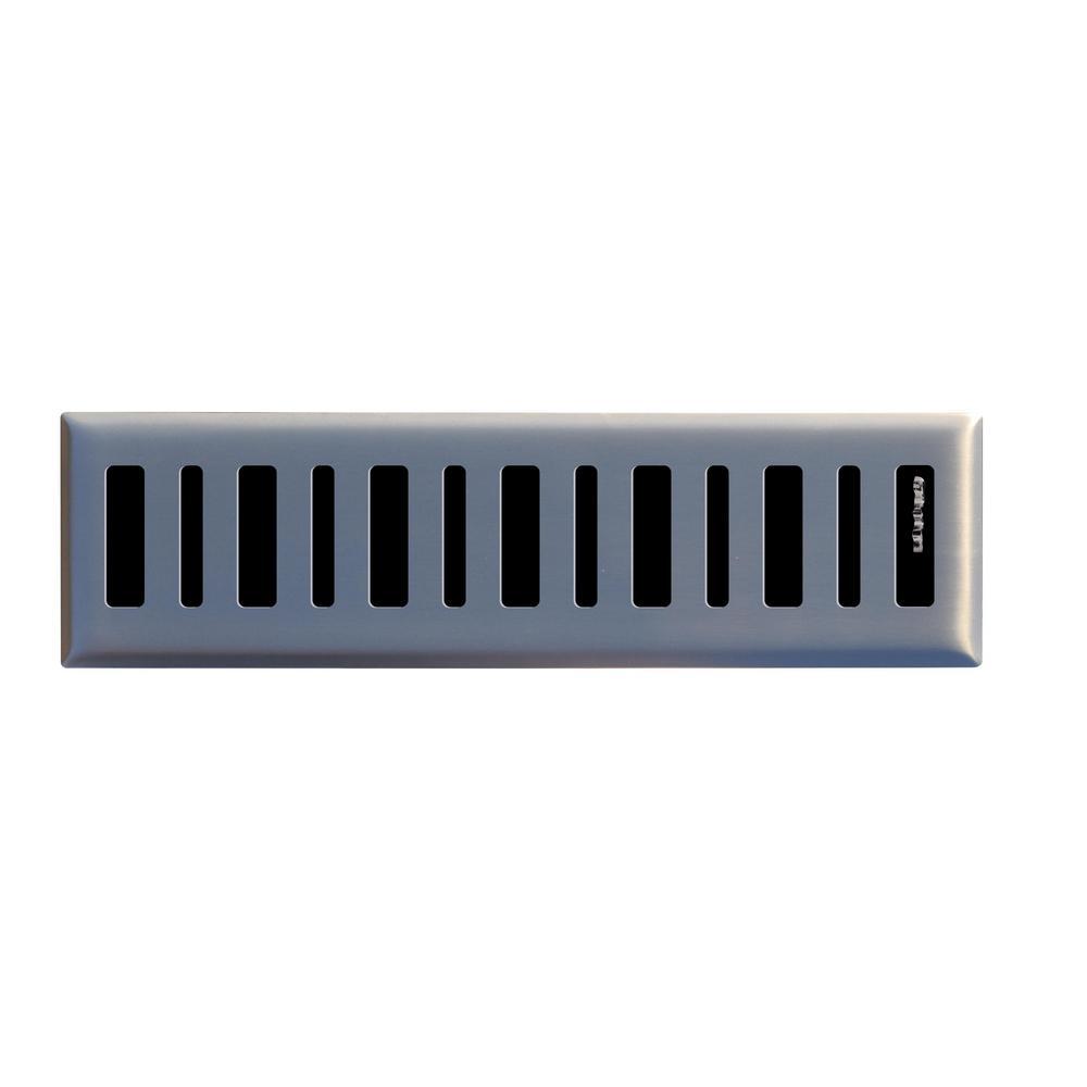 Contemporary 2 in. x 12 in. Steel Floor Register in Brushed Nickel
