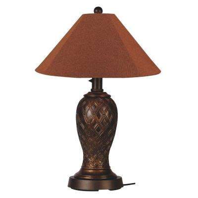 Monterey 34 in. Bronze Outdoor Table Lamp with Chile Linen Shade