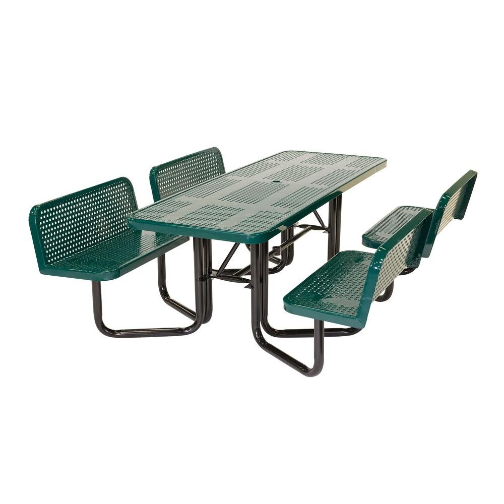 Split Bench Perforated Green Picnic Table