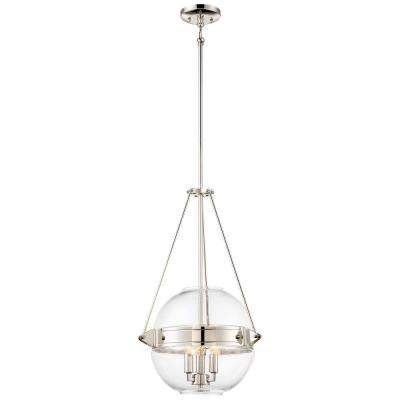 Atrio Collection 3-Light Polished Nickel Finish Pendant 15.5 in. with Clear Glass