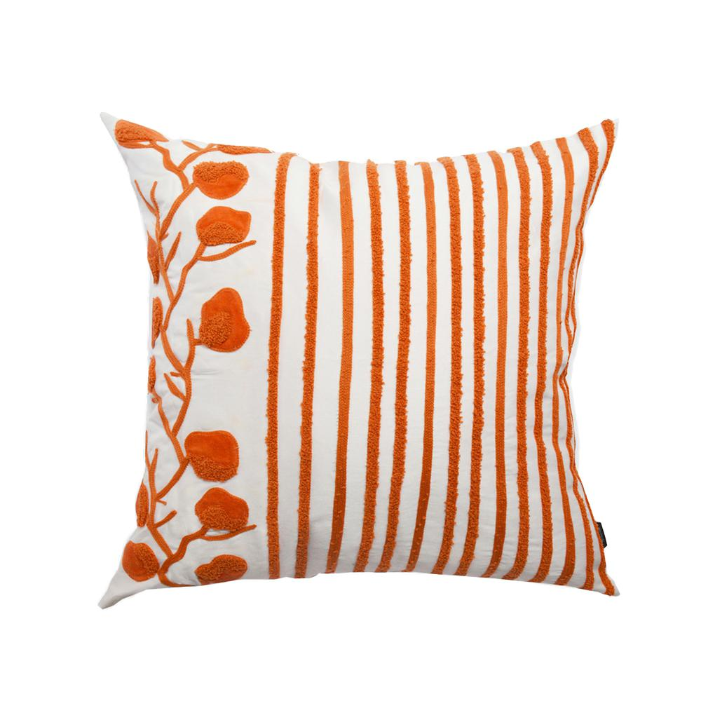 20 in OrangeWhite Striped Floral CushionA1EP015 The Home Depot