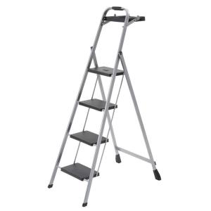 4-Step Steel Skinny Mini Step Stool Ladder with Project Tray  sc 1 st  The Home Depot & Cosco 3-Step Steel Big Step Stool Ladder with Large Front Feet and ... islam-shia.org