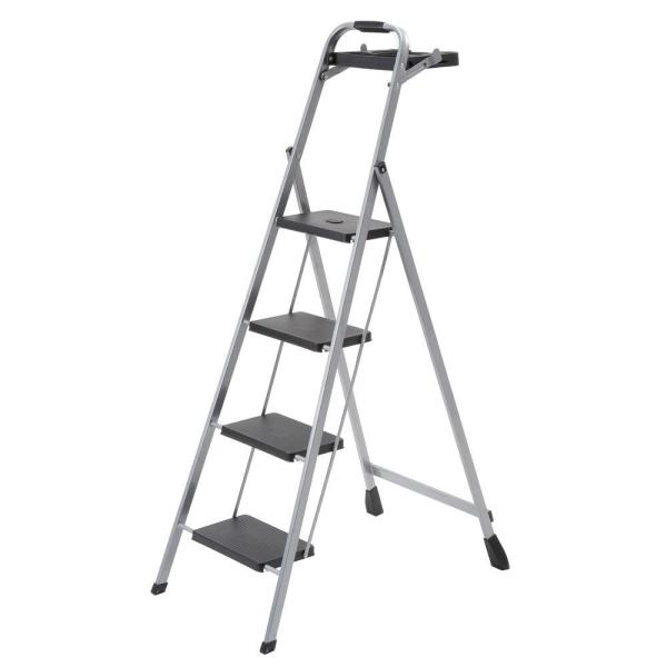 4-Step Steel Skinny Mini Step Stool Ladder with Project Tray
