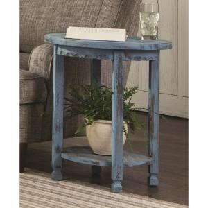 Alaterre Furniture Country Cottage Blue Antique Round End Table ACCA15BA    The Home Depot