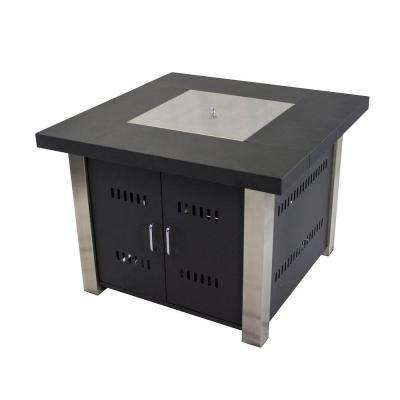 Montreal 38 in. x 29 in. Square Steel Gas Fire Pit Table in Matte Black and Stainless Steel