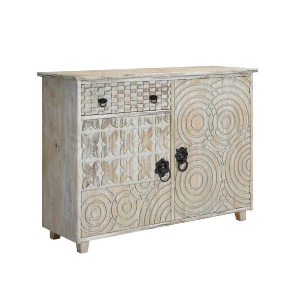 Lime Wash Perazo Geometric Design 2-Door Wood Cabinet with Drawer