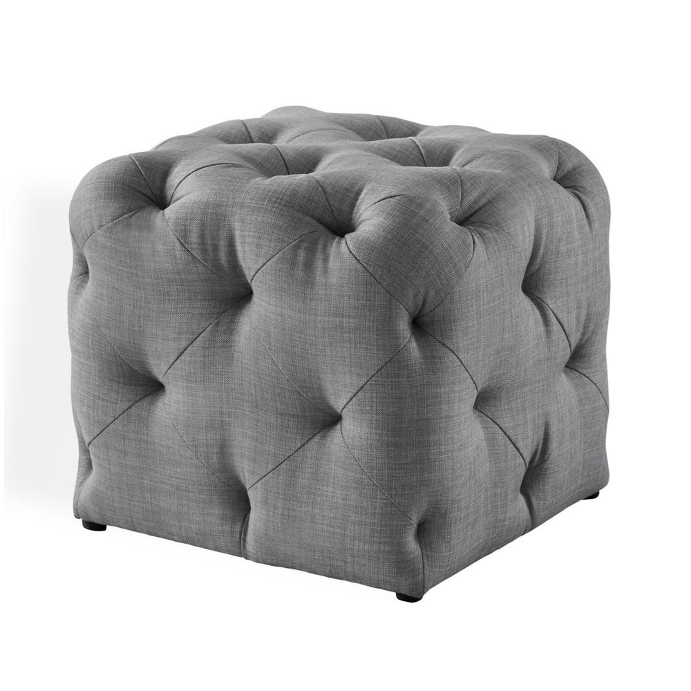 Inspired Home Genevieve Light Grey Cube Tufted Upholstered Linen Storage Ottoman