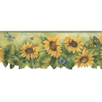 Die Cut Sunflower Wallpaper Border in Mustard, Greens & Blue