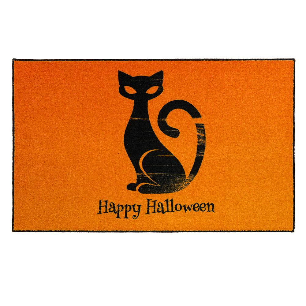 Mohawk Home Happy Cat Orange 2 ft. 6 in. x 4 ft. 2 in. Halloween Indoor Area Rug, Orange/ Black