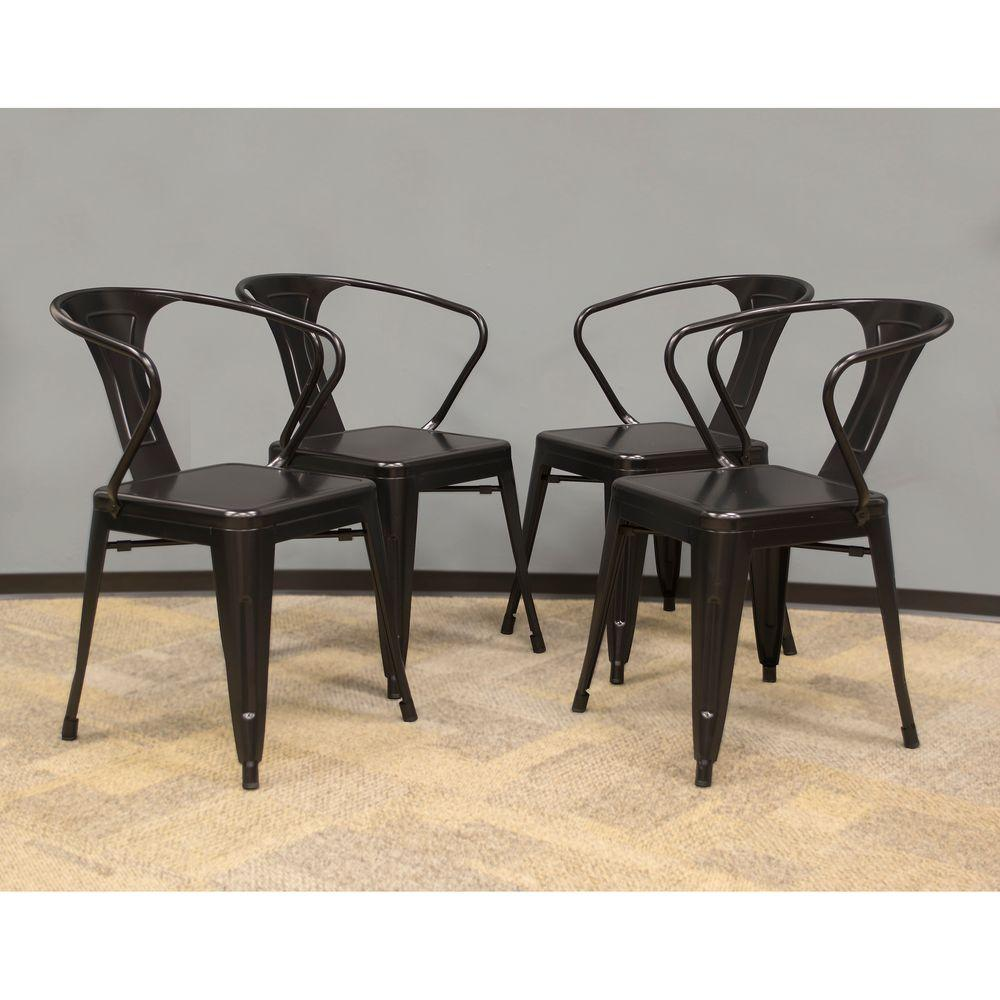Amerihome Black Metal Dining Chair Set Of 4