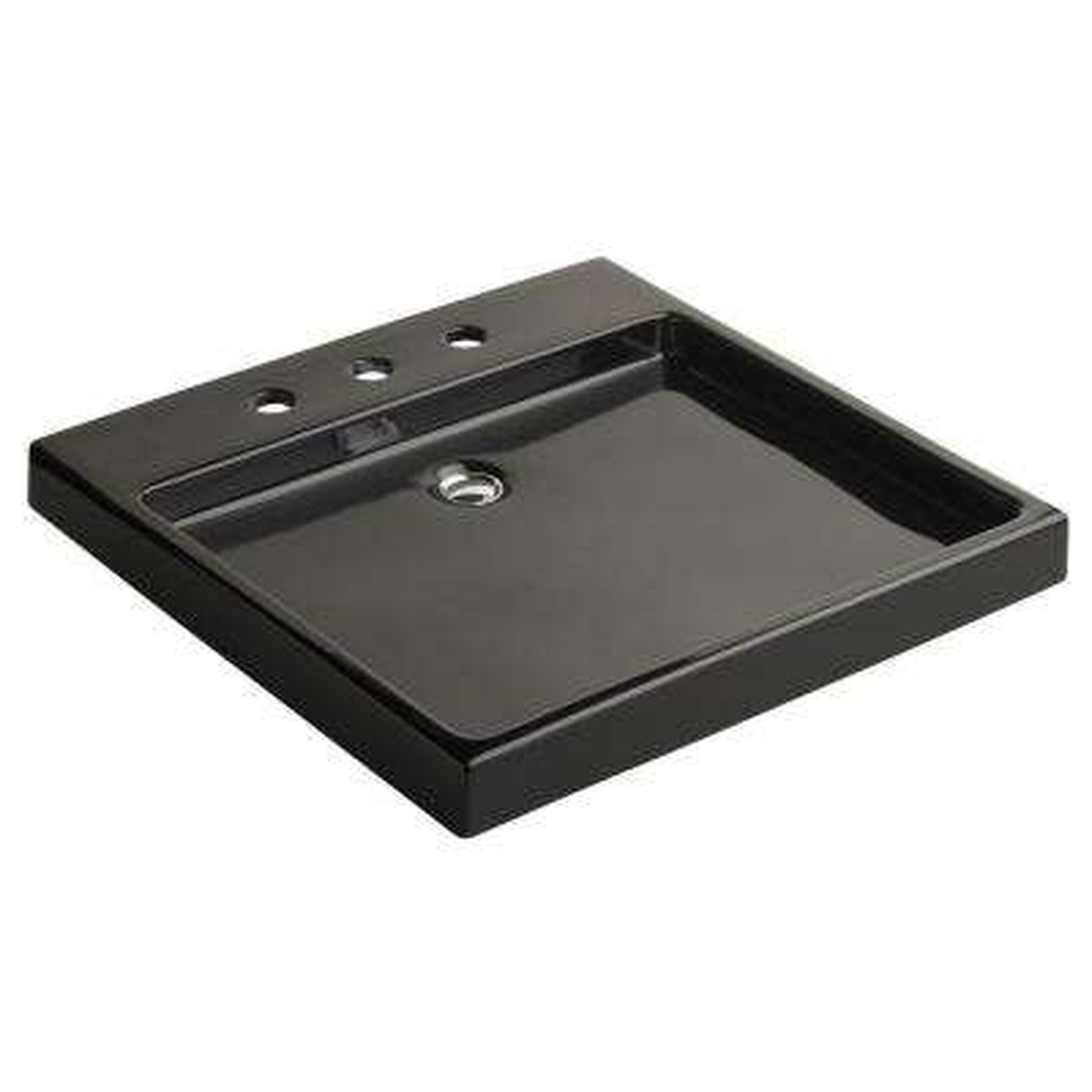 Purist Wading Pool Drop-In Vitreous China Bathroom Sink in Black Black