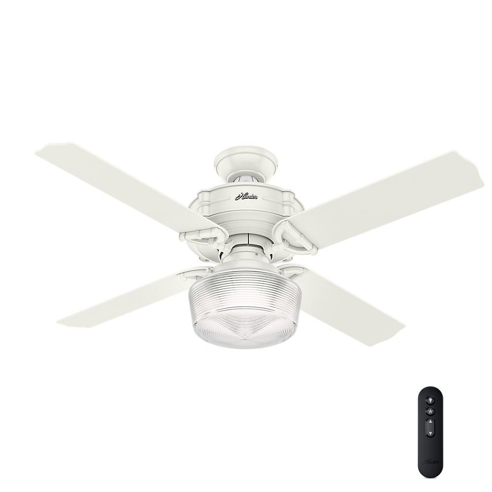 Hunter Brunswick 52 In Led Indoor Fresh White Ceiling Fan With Globe Light Kit And