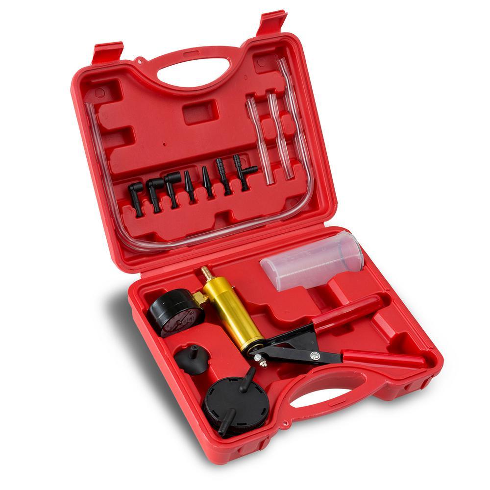 Brake Fluid Bleeder Hand Held Vacuum Pistol Pump Tester Kit Plus Adapters with Case (14-Piece)