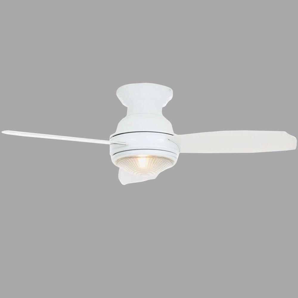 Hampton Bay Sovana 44 in. Indoor White Ceiling Fan with Light Kit and Remote Control