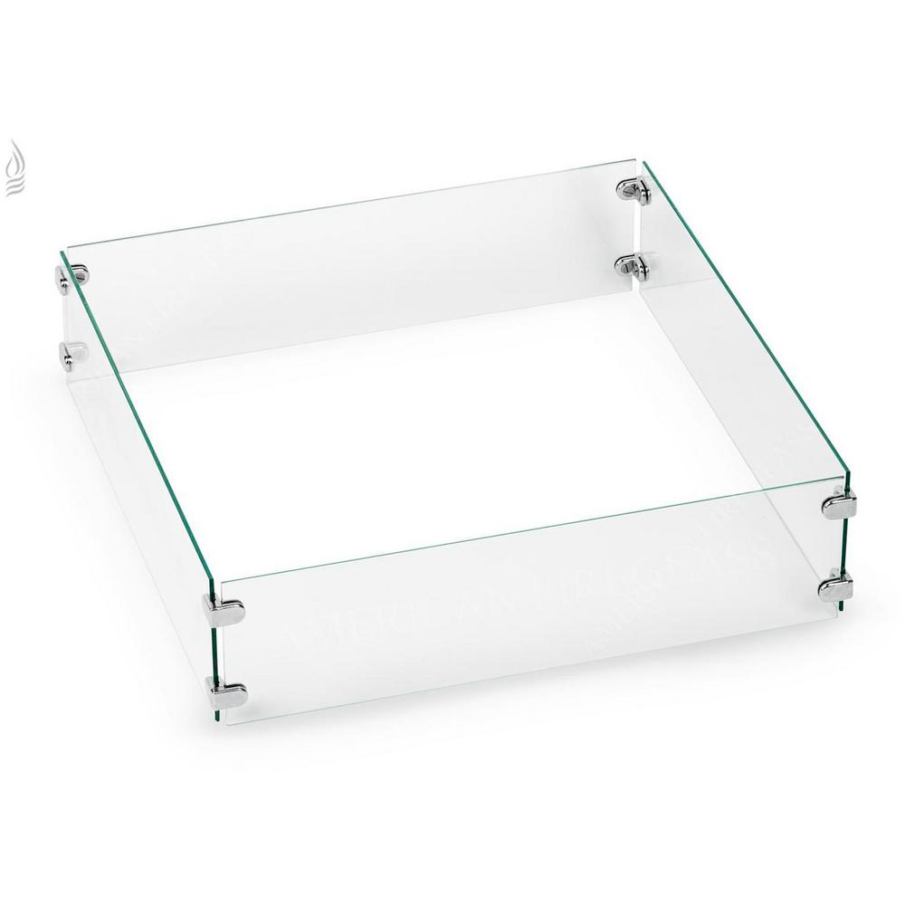 American Fire Glass Tempered Glass Flame Guard For 18 In Square Drop In Fire Pit Pan Fg Sqp 18 The Home Depot