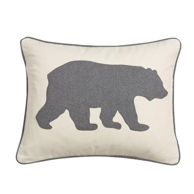 Bear Charcoal Animal Print Polyester 16 in. x 20 in. Throw Pillow