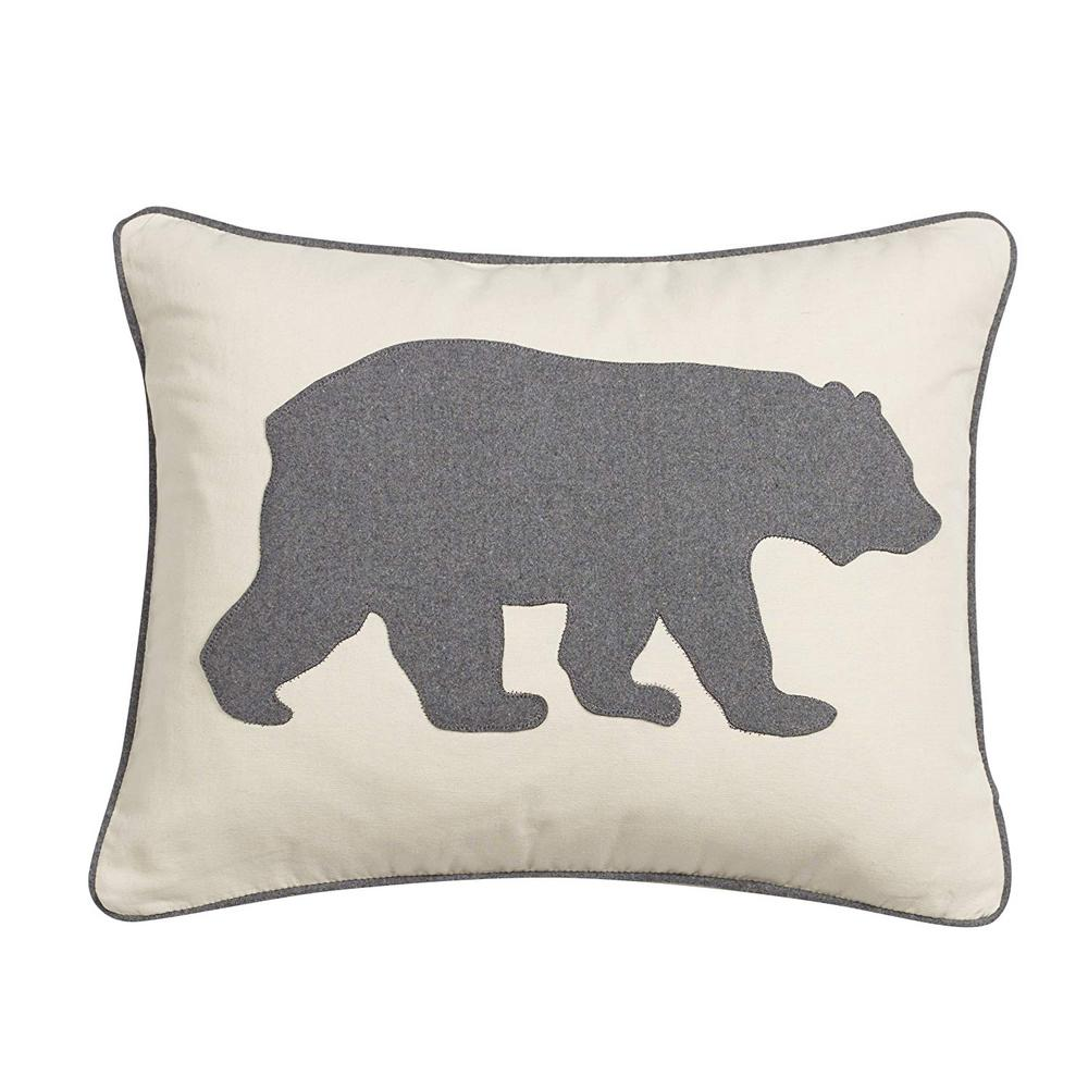 16 in. x 20 in. Charcoal Bear Decorative Throw Pillow