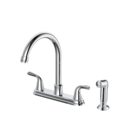 Builders 2-Handle Standard Kitchen Faucet with Sprayer in Chrome