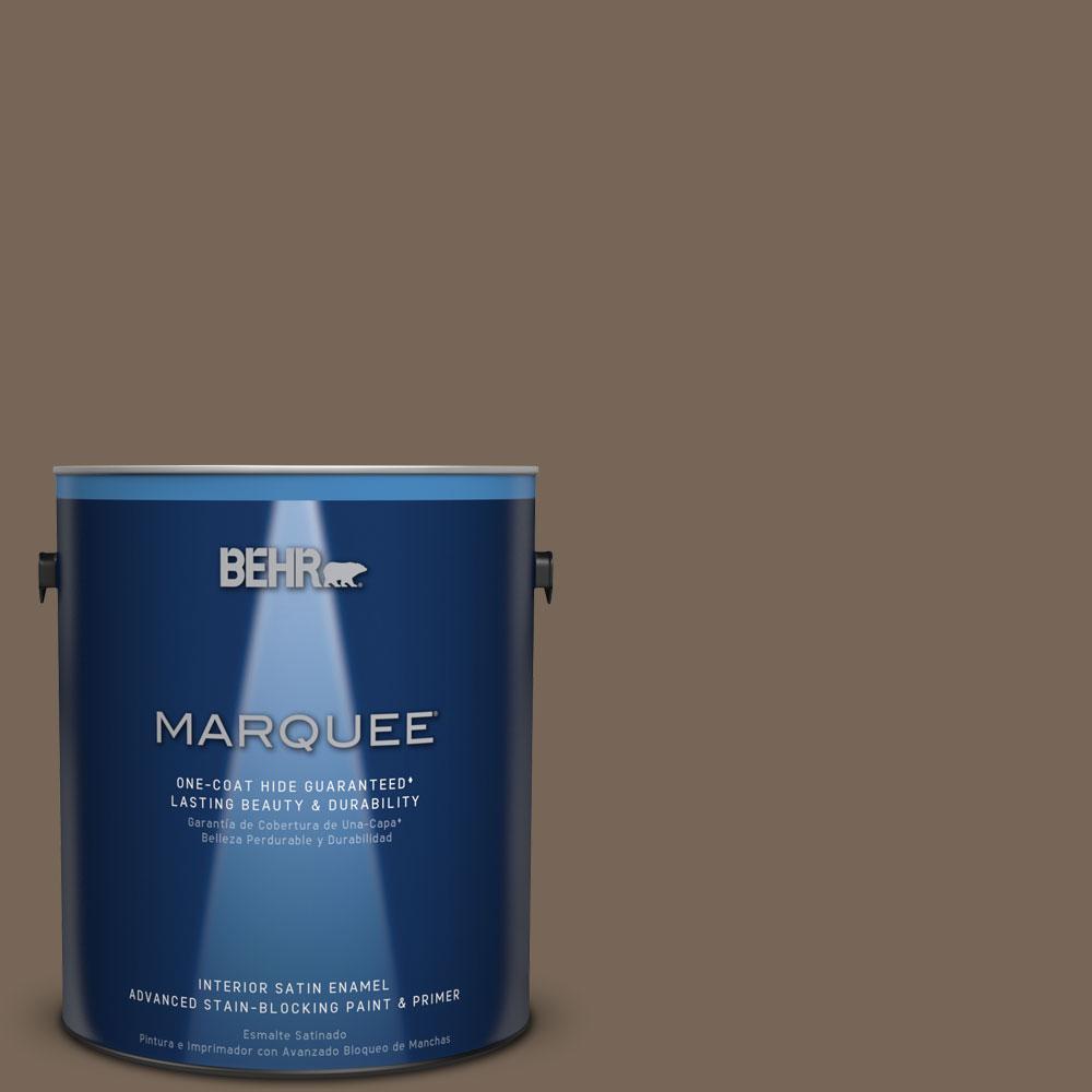 1 gal. #N220-6 Landmark Brown One-Coat Hide Satin Enamel Interior Paint