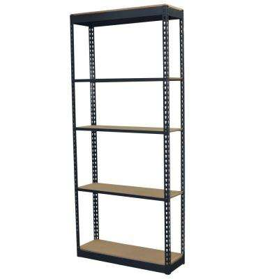 96 in. H x 36 in. W x 24 in. D 5-Shelf Steel Boltless Shelving Unit with Low Profile Shelves and Particle Board Decking