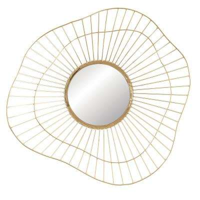 Round Metal Framed Decorative Wall Mirror with Abstract Design