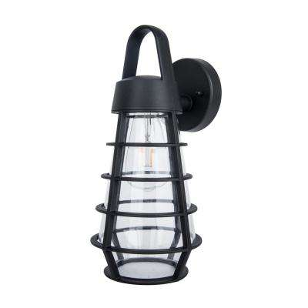Coastal Portland 1-Light Black Outdoor Wall Mount Lantern