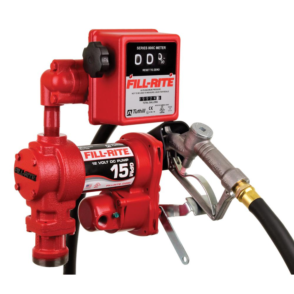FILL RITE 12-V 15 GPM 1/4 HP Fuel Transfer Pump (Mechanical Meter Package)